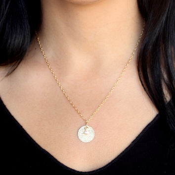 Gold disc necklace-gold necklace bridesmaid jewelry. Gold filled necklace with beautiful disc and fresh water pearl as pendant