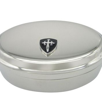 Black Medieval Shield Pendant Oval Trinket Jewelry Box