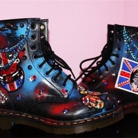 Dr Martens Punk Rock Custom Hand Painted Boots