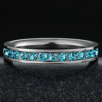 316L Stainless Steel Aquamarine Light Blue Cubic Zirconia CZ Eternity Wedding 3MM Band Ring GTLJ119