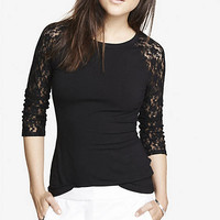 LACE RAGLAN SLEEVE ZIP BACK TEE from EXPRESS