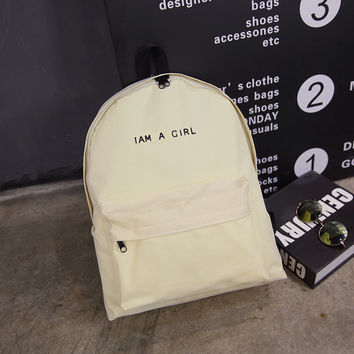 I AM A GIRL Large Canvas School Bag Backpack