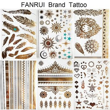 Sexy Sun Moon Star Temporary Tattoo Women Party Body Arm Art Fake Flash Tatoos Gold Metallic Tattoo Stickers Girl Bracelet Wrist