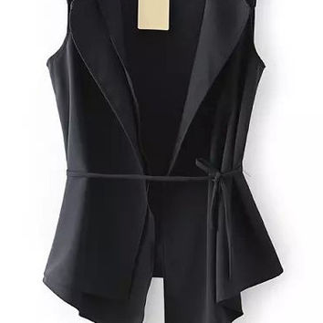 Black Sleeveless Asymmetrical Vest