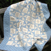 Baby Boy Quilt, Blue and White Quilt, Crib Quilt, Nursery Bedding, $85