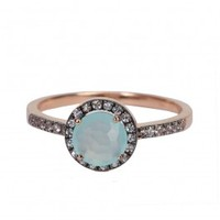 Chalcedony Halo Ring