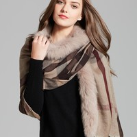 Burberry Fox Trimmed Half Mega Check Lightweight Wrap | Bloomingdale's