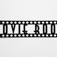 MOVIE ROOM Sign in Film Font Home Theater Decor Metal Wall Art