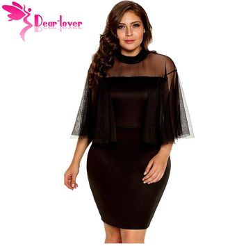 Dear Lover Bodycon Dress Plus Size Womens Night Party Sexy Mesh Black/White Half-Sleeve Semi-sheer Dress Vestidos mujer LC220153