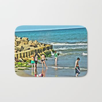Day At the Beach - Photo rendered as painting Bath Mat by Scott Hervieux