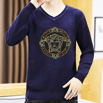 VERSACE Fashion Men Casual Long Sleeved V Collar Sweater Sweatshirt Top