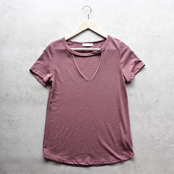 Final Sale - BSIC - slub choker v neck tee - more colors