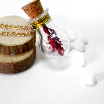 Glass Bottle Necklace, Natural Dried Flower Necklace, Light Bulb Pendant
