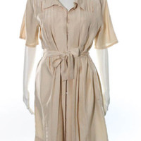 Celine Beige Silk Pleated Button Down Belted Shirt Dress Size French 44