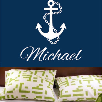 Wall Decal Vinyl Sticker Decals Art Decor Design Sign Custom Name Baby Letter Anchor Symbol Nautical Salior Ocean Living Room Bedroom(r546)