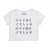 Planets Symbols Crop-Female Snow T-Shirt