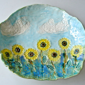 Hand Painted Ceramic Platter  Sunflower Ceramic Platter floral design, indigo, yellow and turqhoise