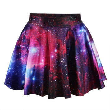 Women Galaxy Power Skater Mini Skirt