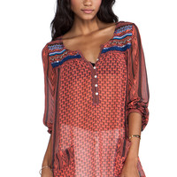 Free People Feather in the Wind Top in Blood Orange