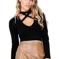 Lace Up V-neck Full Sleeve Choker Black Blouse Sexy Short Bodycon Pink Skinny Crop Top Sexy Women Autumn New Fashion Slim Blouse