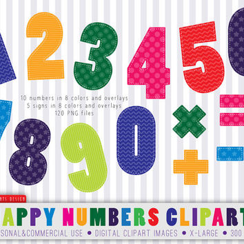 120 Happy Numbers Clipart, numbers clipart, children clipart, numbers, birthday clipart, birthday numbers clipart, digital numbers, DIY
