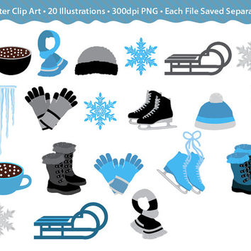 Winter Clip Art Images - Cold Climate Graphics,  grey, blue and black digital graphics for christmas projects, crafts, scrapbooking, design