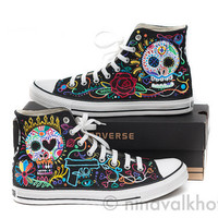 CUSTOM MADE hand-painted Converse Allstars 'Dia de los muertos', day of the dead