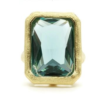 Huge Bezel Set Emerald Cut Blue Zircon Stone Fashion Ring in Brushed Gold Finish