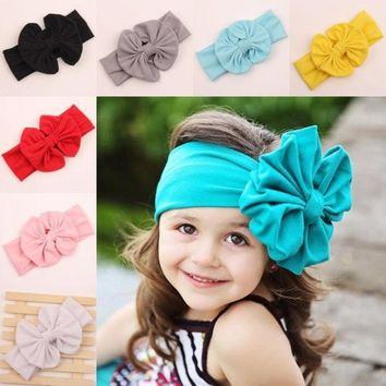 2015 Big Bow Headwrap Lovely Bowknot Baby Headbands Cotton Baby Girl Hair Bow 9 Colors Pick = 1929564740