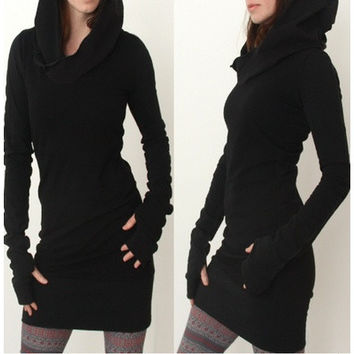 New Fashion Autumn Womens Hooded Sweatshirt Dress Long-Sleeved Dress Vestidos Lady Hoodies [8045198343]
