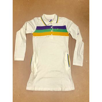 Mardi Gras Girls White Three Striped Polo Dress