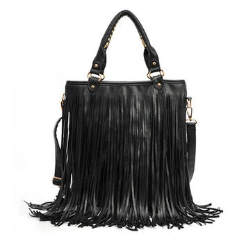 Black PU Shoulder Bag With Long Tassel