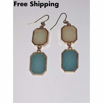 Vintage Opaque Aquamarine & White Faceted Gold Tone Dangle Earrings