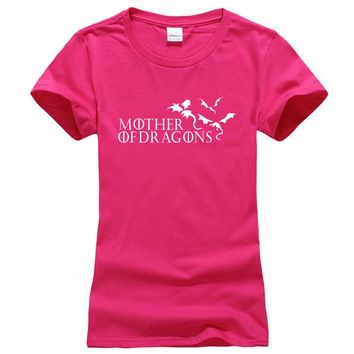 """Pink and White """"Mother of Dragons"""" Women's Game of Thrones cotton T-shirt"""