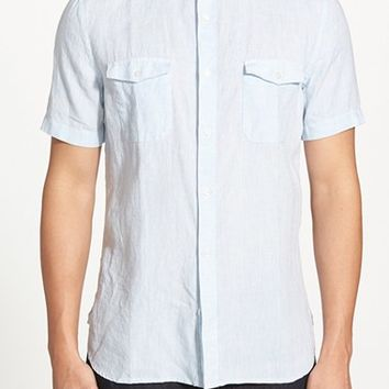 Men's French Connection Slim Fit Short Sleeve Linen Chambray Sport Shirt,
