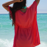Beach cover up, coverup with small Pom poms, swimsuite coverup, gauze cotton coverup, resort wear, must have for any beach vacation