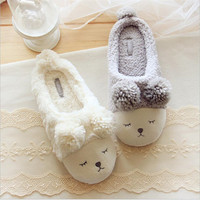2016 Short Plush Slippers Home Furnishing Cute Couple Warm Comfortable Squinting Sheep Indoor Floor Slippers,Slippers Women