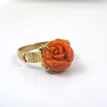 Victorian Coral Flower Ring, Carved Salmon Red Coral Rose Flower, Antique Gold Coral Jewelry  Size 6
