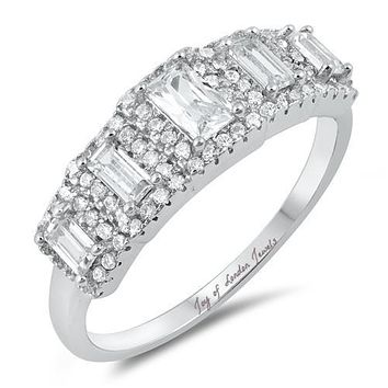 2.6TCW Emerald Cut Russian Lab Diamond Half Eternity Ring