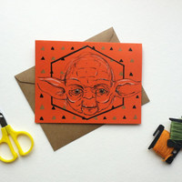 YODA Bright Blank Greeting Card for the Star Wars Fan- Painted by hand- Any Occasion