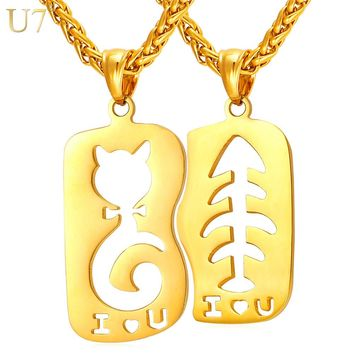 U7 Cat & Fish love Necklace & Pendant Gold Color Stainless Steel Couple Jewelry For Women/Men Anniversary Gift P924