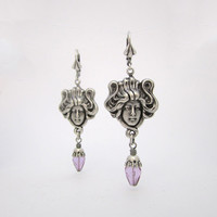 Art Nouveau Earrings - Amethyst Purple Lilac Dreamy - Jugend Mucha Lady - Medusa Hair