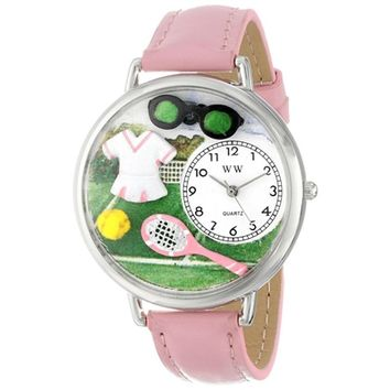SheilaShrubs.com: Unisex Tennis Female Pink Leather Watch U-0810008 by Whimsical Watches: Watches