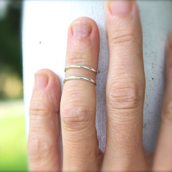 SOLID STERLING SILVER set of 2 Knuckle or Mid Finger rings,  stacking set Please specify size