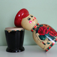 Soviet Wooden Russian Doll Bottle Holder Made in USSR, Matryoshka, Wooden Man, Hand Painted, Lacquer Box, Storage, Bar Decor, Home Decor