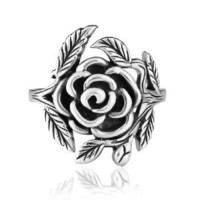 925 Sterling Silver 20 mm Vintage Style Detailed Rose with Leaves Ring - Nickel Free