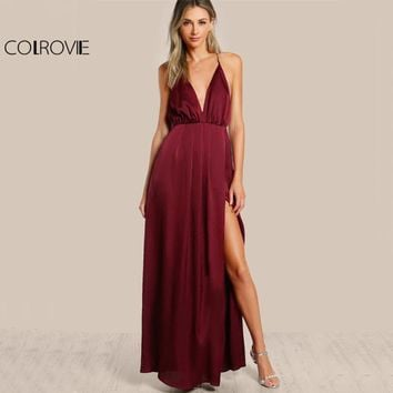 COLROVIE High Slit Wrap Satin Maxi Dress Plunge Neck Cross Back Women Sexy Draped Long Dresses 2018 Sleeveless A Line Slip Dress