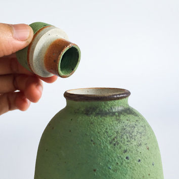 HANDMADE Small Green Bottle Jar - Ready to Ship - Ceramic, Pottery