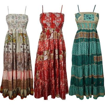 Mogul Wholesale Lot Of 3 Pcs Womens Sundress Recycled Vintage Sari Patchwork Strappy Maxi Dress - Walmart.com