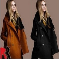 Winter Women's European and American temperament Slim woolen coat lapel double-breasted wool = 1930339780
